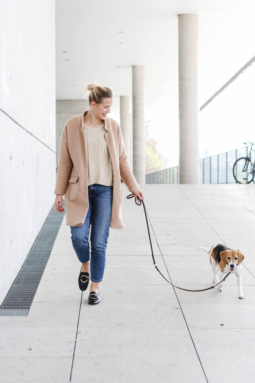 Fashion blogger with beagle dog